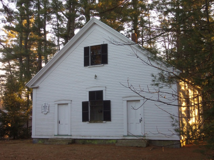The 1851 Quaker meetinghouse in Epping, New Hampshire, sits in a two-acre pine grove.