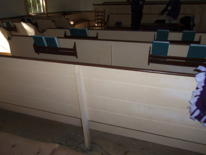The simple interior of the Friends meetinghouse in North Sandwich, New Hampshire, reflects a peaceful faith.