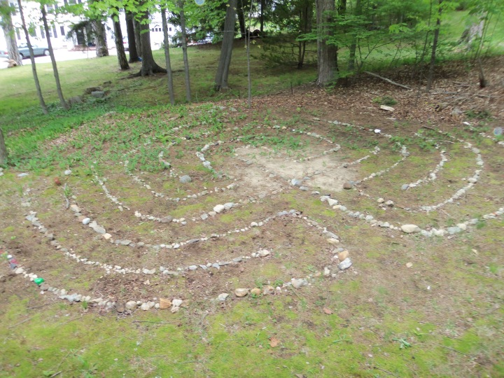 The youngest Friends at Dover Meeting have had fun building and maintaining their maze behind the meetinghouse.