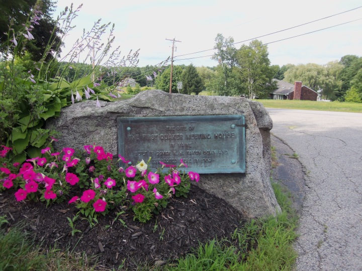 The first Quaker meetinghouse in New Hampshire was later moved across the river, where it became the first Quaker house of worship in Maine. This plaque marks the spot.