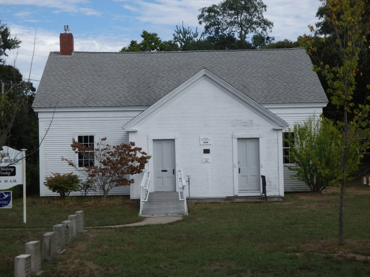The Yarmouth Quaker meetinghouse on Cape Cod is distinctive in that the traditional women's side, on the left, was much larger than the men's side, on the right. The reason, we're told, is that many of the men were often out to sea.