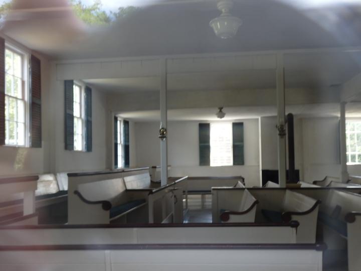 The interior, viewed through a window.